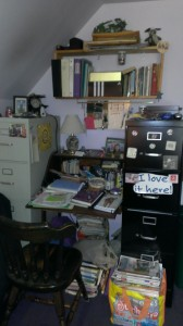 Here's where I started, back in April. Plenty of clutter! Desk decluttering project, phase 1.
